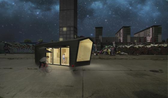 """Hauptsache Dach über dem Kopf: das Cabin Spacey bei Nacht. Die Wohnfläche beträgt rund 20 m<custom name=""""sup"""">2</custom>. Genug Platz jedenfalls für zwei Personen, finden die Architekten des Mini-Hauses."""