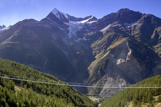 Sie soll zwei Stunden Auf- und Abstieg einsparen: die mit 365 m längste hochalpine Hängeseilbrücke in den Alpen bei Zermatt in der Schweiz. Im Bild sehen Sie eine Fotomontage, die Brücke soll im Sommer 2017 fertig sein.