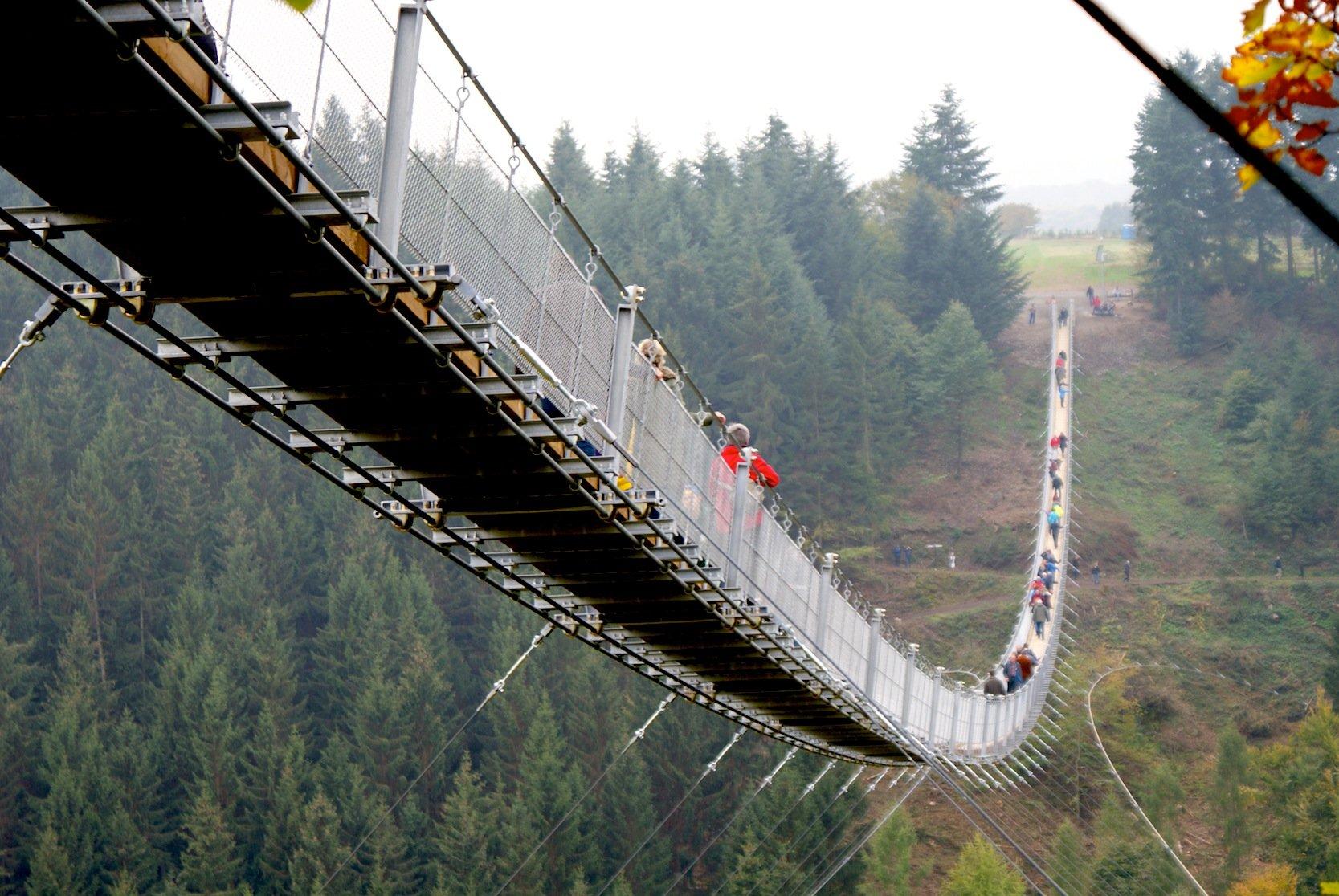 Da kann auch Ingenieuren Angst und Bange werden: In 100 m Höhe verläuft Geierlay, die längste Hängeseilbrücke Deutschlands im Hunsrück.