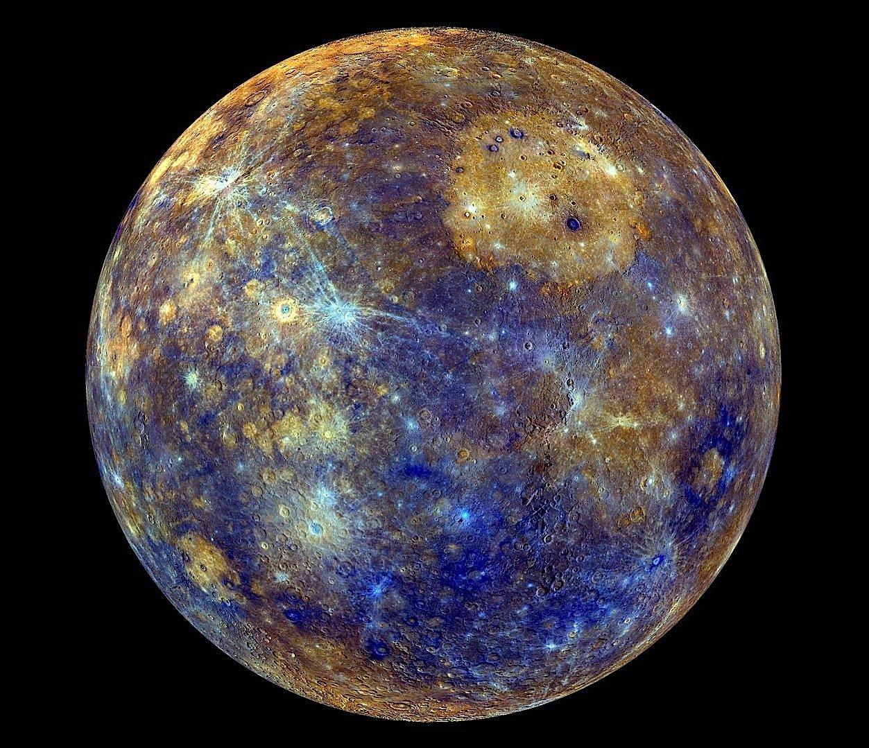 Falschfarbendarstellung des Merkur: Die ESA will den kleinsten und sonnennächsten Planeten mit derBepiColombo-Mission genauer untersuchen.
