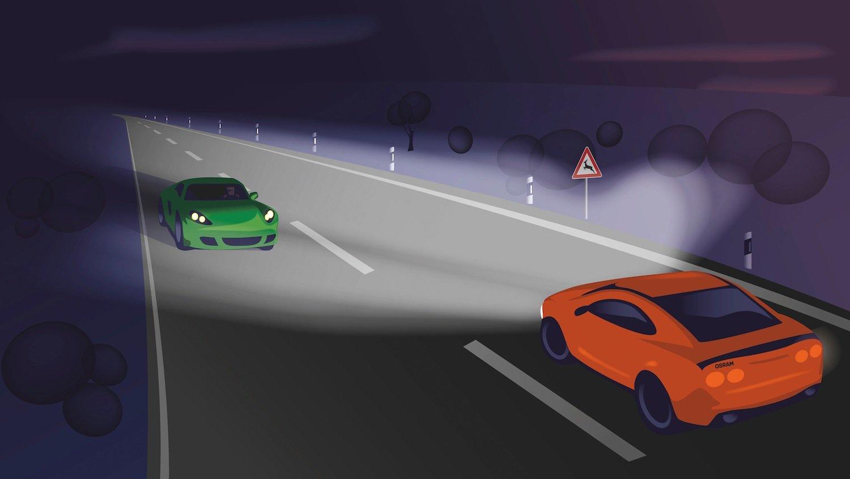 Der Scheinwerfer schaltet die Lichtpunkte aus, die den Gegenverkehr blenden würden. Dadurch kann der Fahrer auf dunklen Landstraßen kontinuierlich mit Fernlicht fahren.