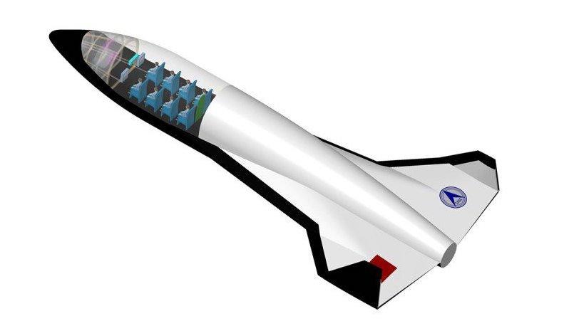 Mit Details hält sich China zurück: So sieht ein Entwurf für den Flieger aus, der aus eigener Kraft vertikal starten können soll und bis zu 20 Weltraumtouristen Platz bietet.