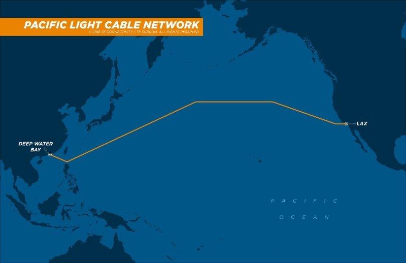Die geplante Route für die Verlegung desPacific Light Cable Network (PLCN).