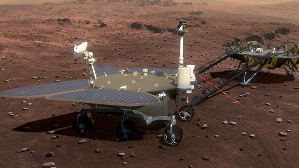 Der sechsrädrige, chinesische Marsrover soll 2020 zum Mars fliegen. Dort soll der Rover Bodenproben nehmen und nach Anzeichen für Wasser auf dem Mars suchen.