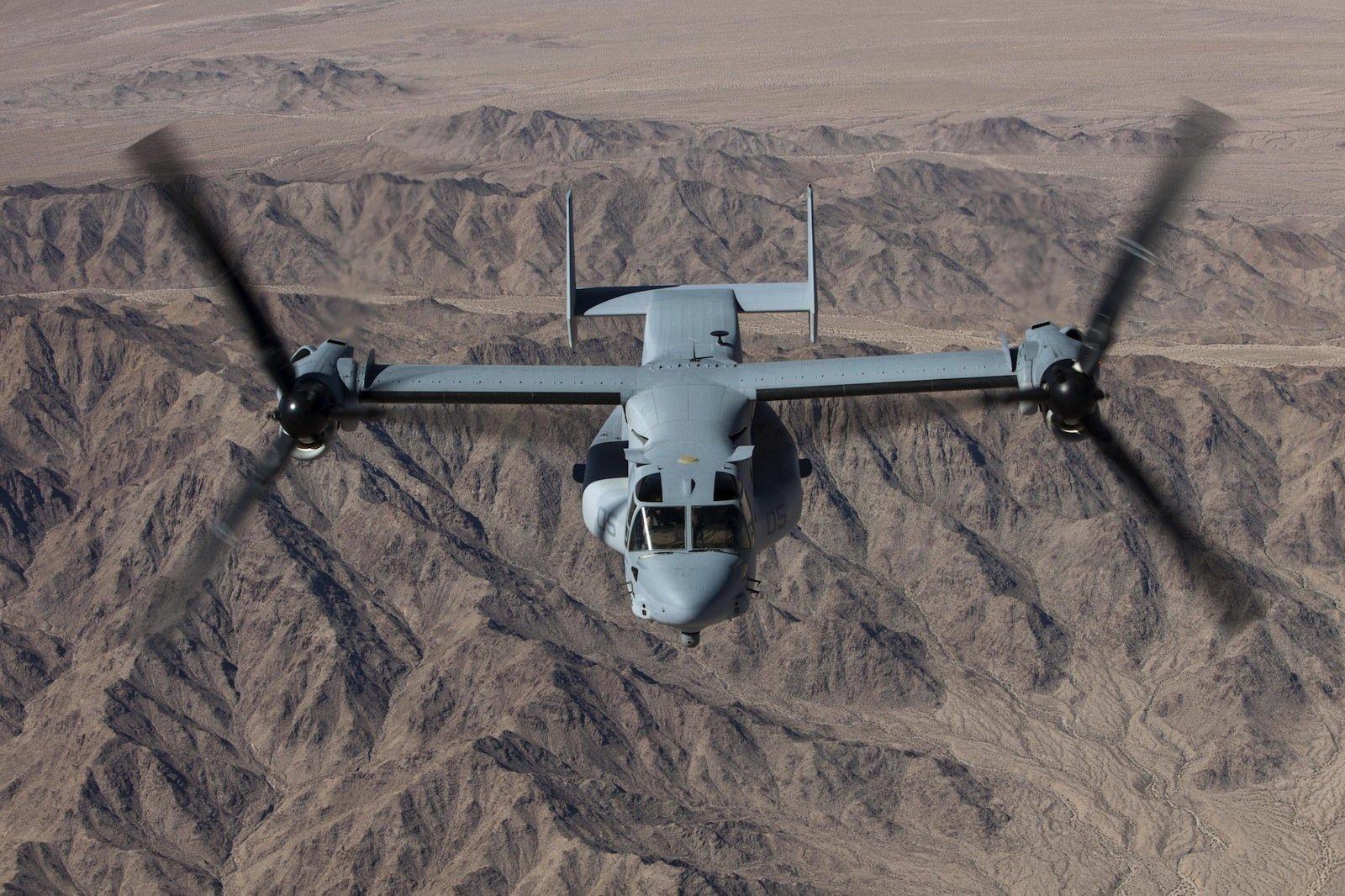 Das Kipprotor-Wandelflugzeug V-22 Osprey wird seit 2005 von der US-Luftwaffe und dem US-Marine-Corps eingesetzt.