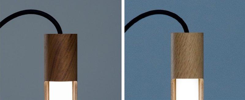 Es gibt Licht 1 auch in den Holzvarianten Walnuss (li.) und Eiche.