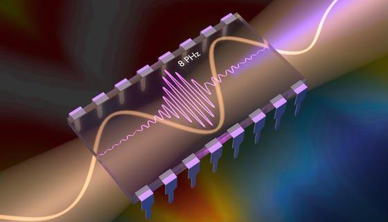 Lichtpulse erzeugen elektrische Ströme, die schwingen. Die dabei ausgestrahlte EUV-Strahlung (Extrem-Ultraviolett) erlaubt es, diese elektrischen Ströme in Echtzeit aufzuzeichnen.