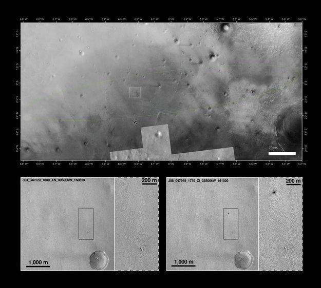 Die Schiaparelli-Landestelle mit und ohne Flecken: Den hellen Fleck deuten die ESA-Wissenschaftler als Schiaparellis Fallschirm. Der andere unscharfe, dunkle Fleck geht auf den Einschlag des Schiaparelli Moduls zurück – nach einem deutlich länger andauernden freien Fall als ursprünglich geplant.