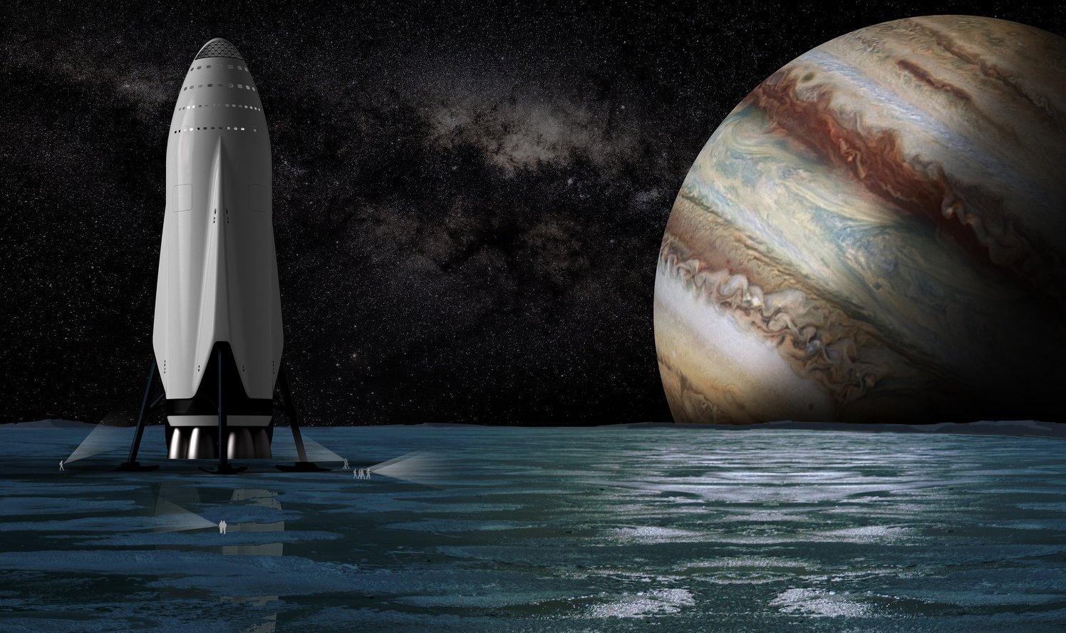 Das 77,5 m hohe Raumschiff, das Menschen zum Mars fliegt, soll wieder zur Erde zurück kehren und dann erneut zum Mars fliegen.