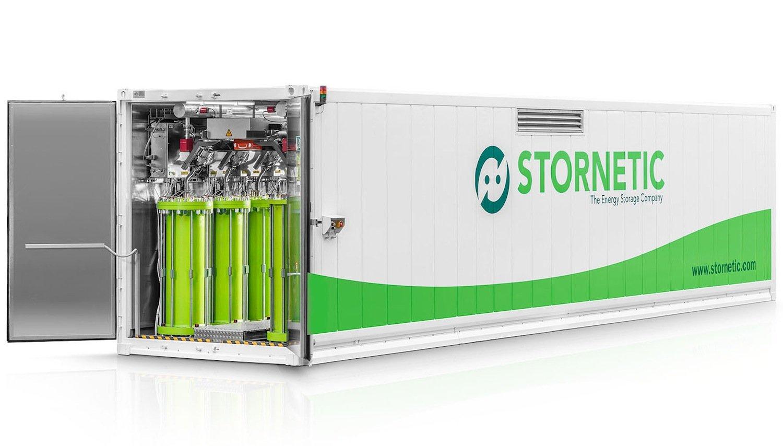 Durastor von Stonetic. 16 Rotoren sind in einem 40-Fuß-Standardcontainer untergebracht. Sie sind auf eine Lebensdauer von 20 Jahren ausgelegt.