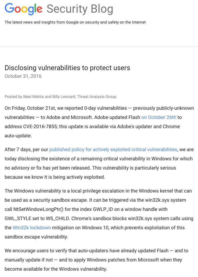 Google hatte am 31. Oktober über die Sicherheitslücke gewarnt.