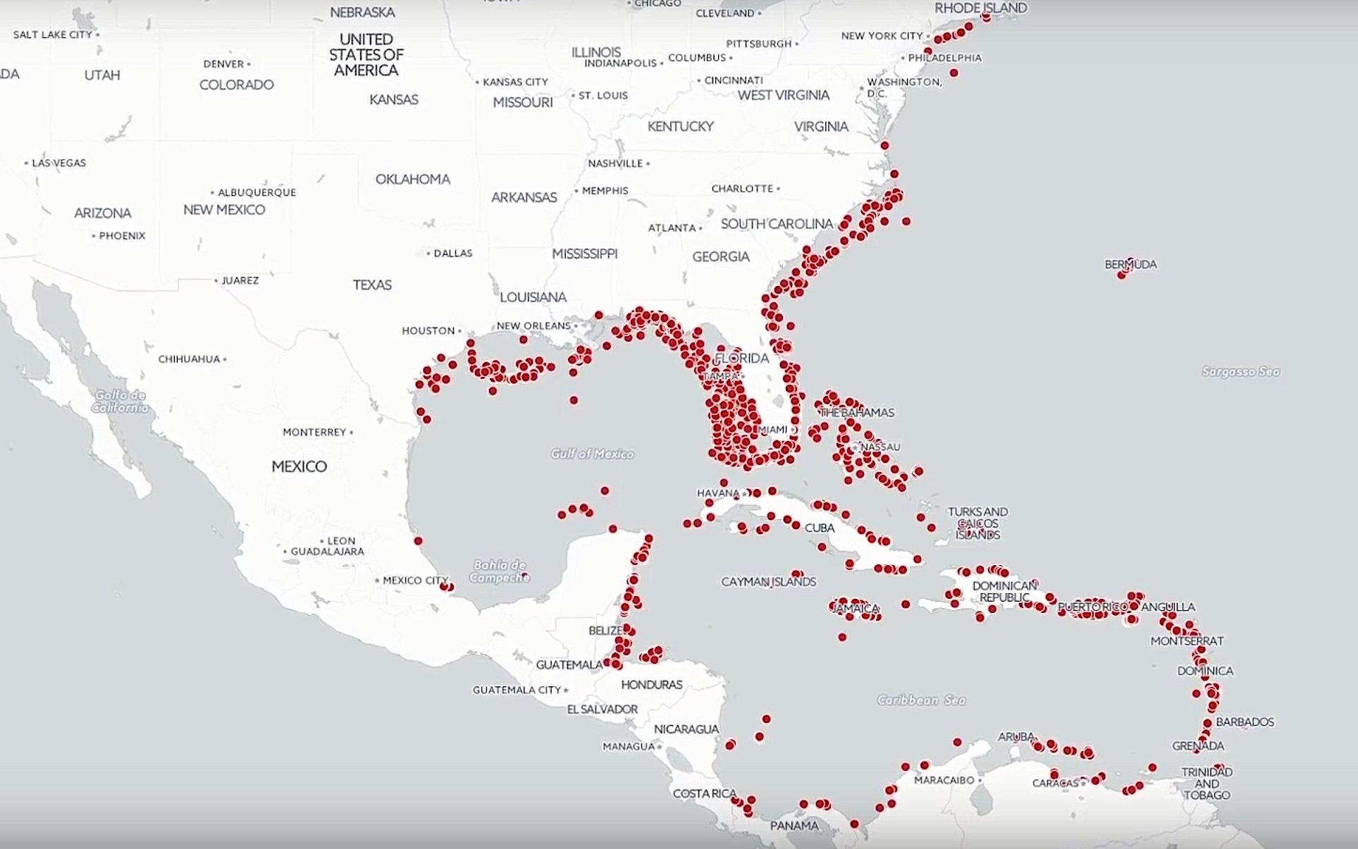 Die Rotfeuerfische breiten sich derzeit vor allem vor den Küsten der Karibik und der südlichen US-Bundesstaaten aus und verdrängen dabei einheimische Fischarten. Inzwischen wurden sie auch schon im Mittelmeer gesichtet.