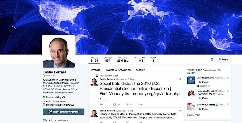 Der Twitter-Account von Emilio Ferrara, Hauptautor der Studie.