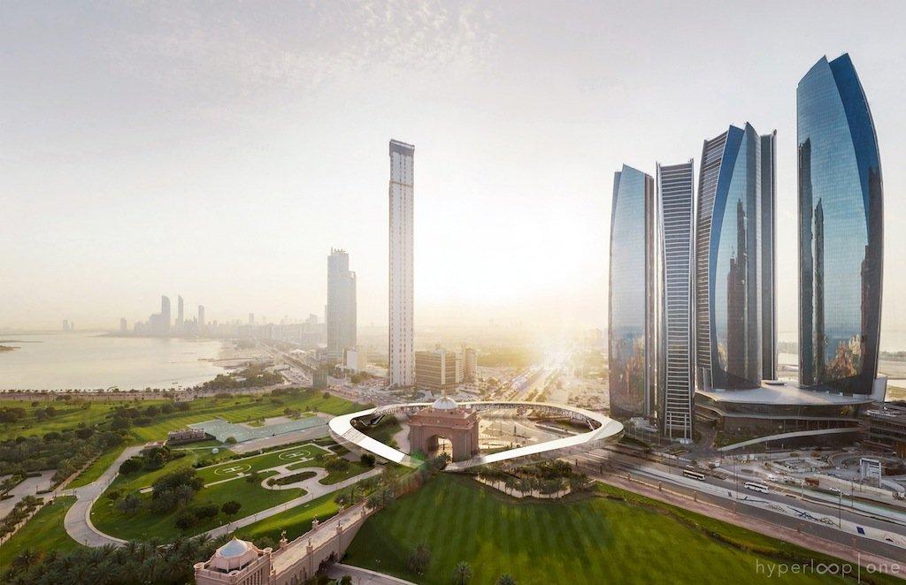 Auch um den Standort eines Bahnhofes hat sich Hyperloop One schon Gedanken gemacht: In Abu Dhabi soll der Bahnhof an den Etihad Towers liegen, in Dubai direktam höchsten Haus der Welt starten, demBurj Khalifa.