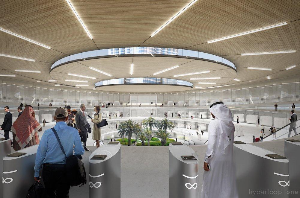 So stellt sich Hyperloop One den Eingang zu den Hyperloop-Bahnhöfen in Abu Dhabi und Dubai vor.