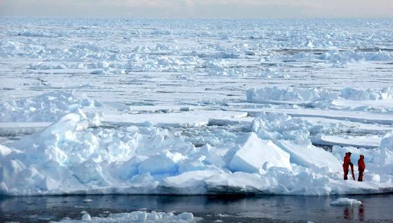 Forscher erkunden das Arktische Meereis.
