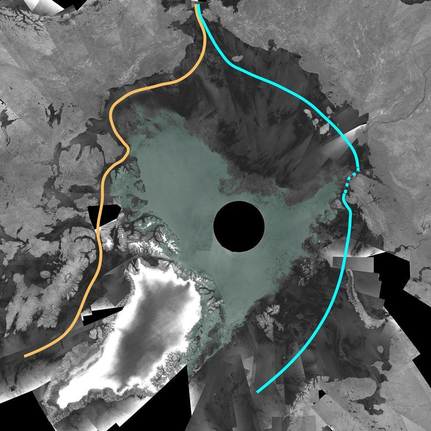 Das Satellitenbild vom September 2007 zeigt den kanadischen Teil der Nordwestpassage zum ersten Mal seit Beginn der Aufzeichnungen völlig eisfrei und damit schiffbar.
