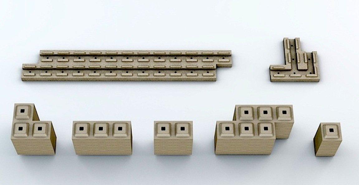 Die Steine aus Polymerbeton gleichen Lego-Steinen und werden auch genauso zusammen gesetzt.