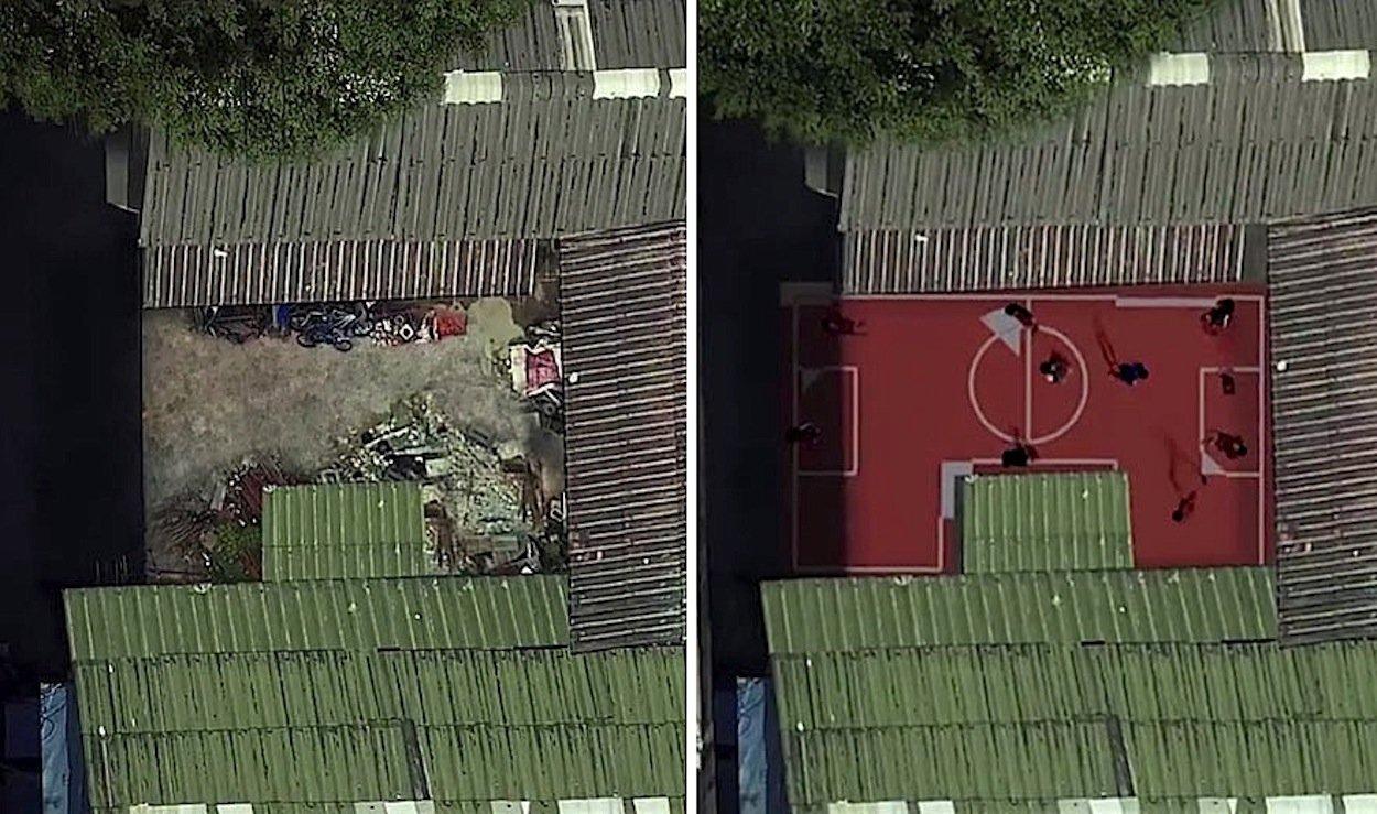 Vorher Müllplatz, jetzt ein Fußballplatz: Er geht einfach um den im Weg stehenden Schuppen herum.
