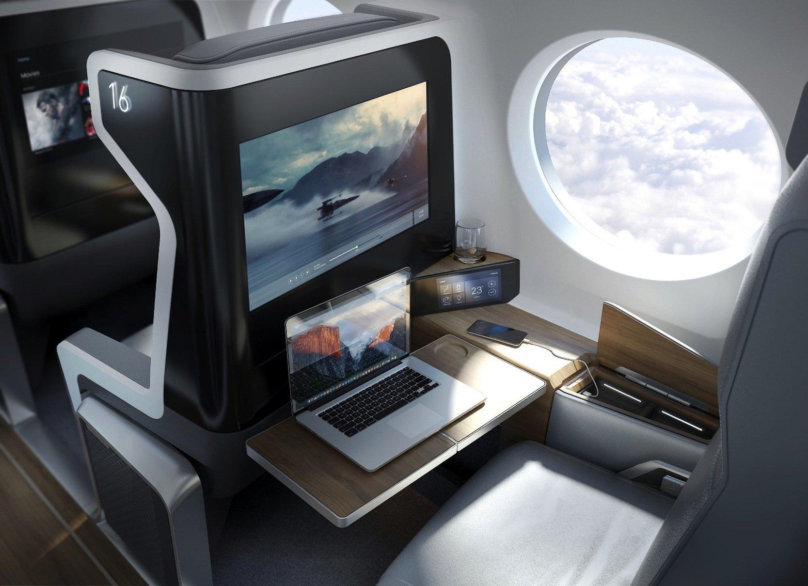 Das Überschallflugzeug Boom XB-1 bietet Platz für 45 Passagiere, die jeweils einzeln auf jeder Gangseite sitzen.