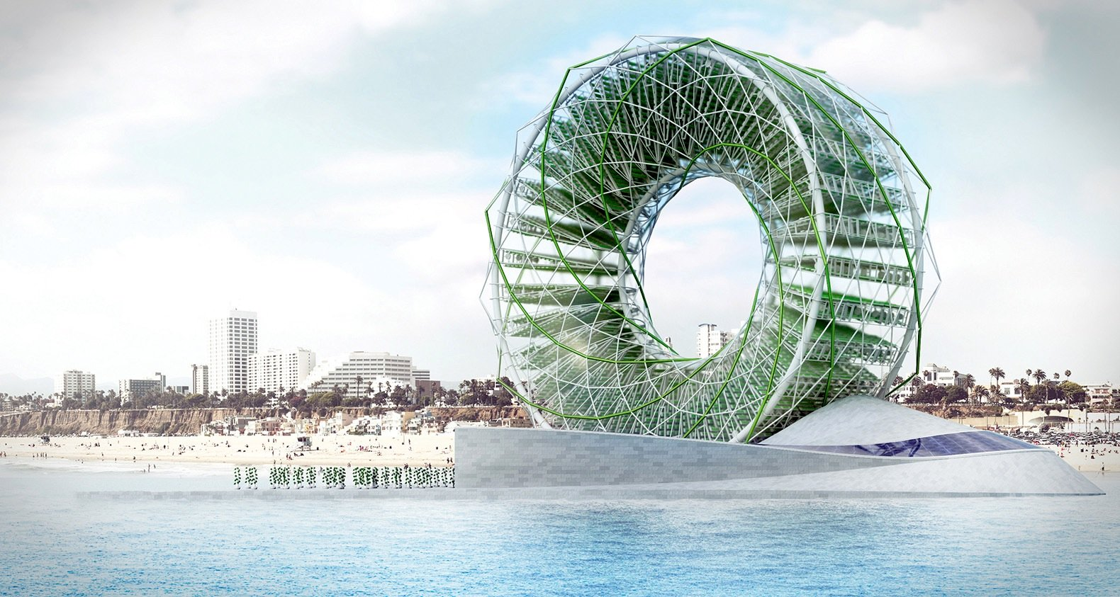 The Ring Garden ist ein Riesenrad, das ebenfalls mit dem Strom aus Solarzellen Salzwasser zu Trinkwasser verarbeitet.