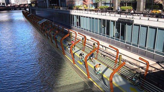 Das wär´s doch: ein schwimmender Radweg, überdacht und beleuchtet.