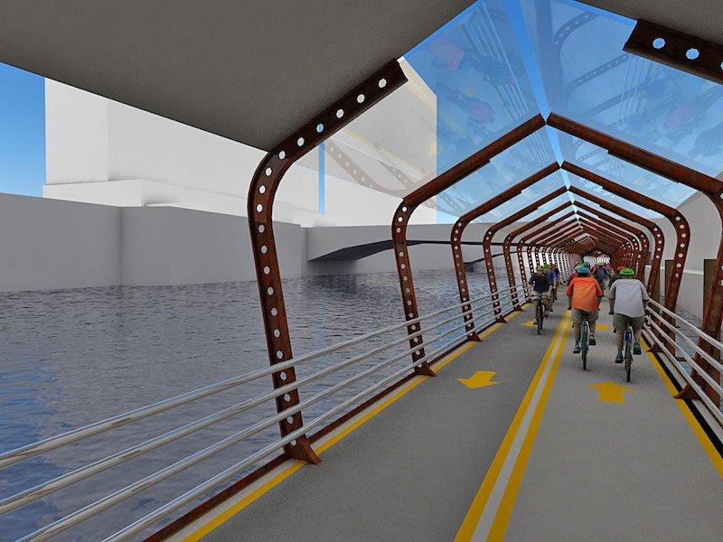 Der Radweg besteht ausschwimmenden modularen Segmenten, die entlang des Flusses aneinandergereiht und im Flussbett verankert werden. Die Pontons sollen aus stahlverstärktem Beton gefertigt werden.