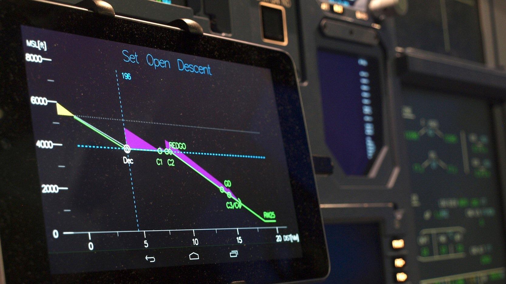 Das Display des getesteten Assistenzsystems LNASzeigt dem Piloten Vorschläge für eine optimale Landung an.