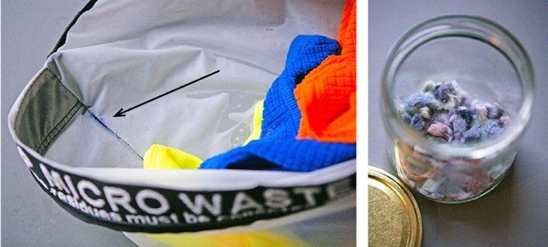 Dank des Rückspül-Effekts landet das Mikroplastik in den Ecken des Waschbeutels. Der Anwender entnimmt und entsorgt es mit dem Plastikmüll.