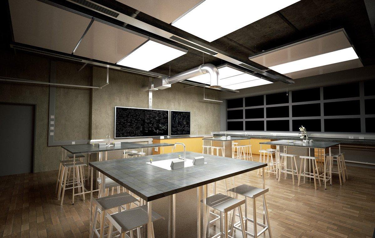 Die Klimadecke eignet sich auch für den Einbau in Schulräumen.