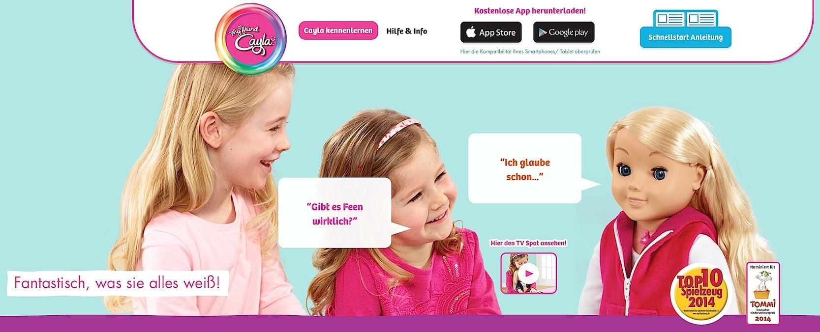 Die Kinder können mit ihrer Puppe auch sprechen. Und Cayla antwortet sogar und zieht dafür ihr Wissen aus dem Internet.