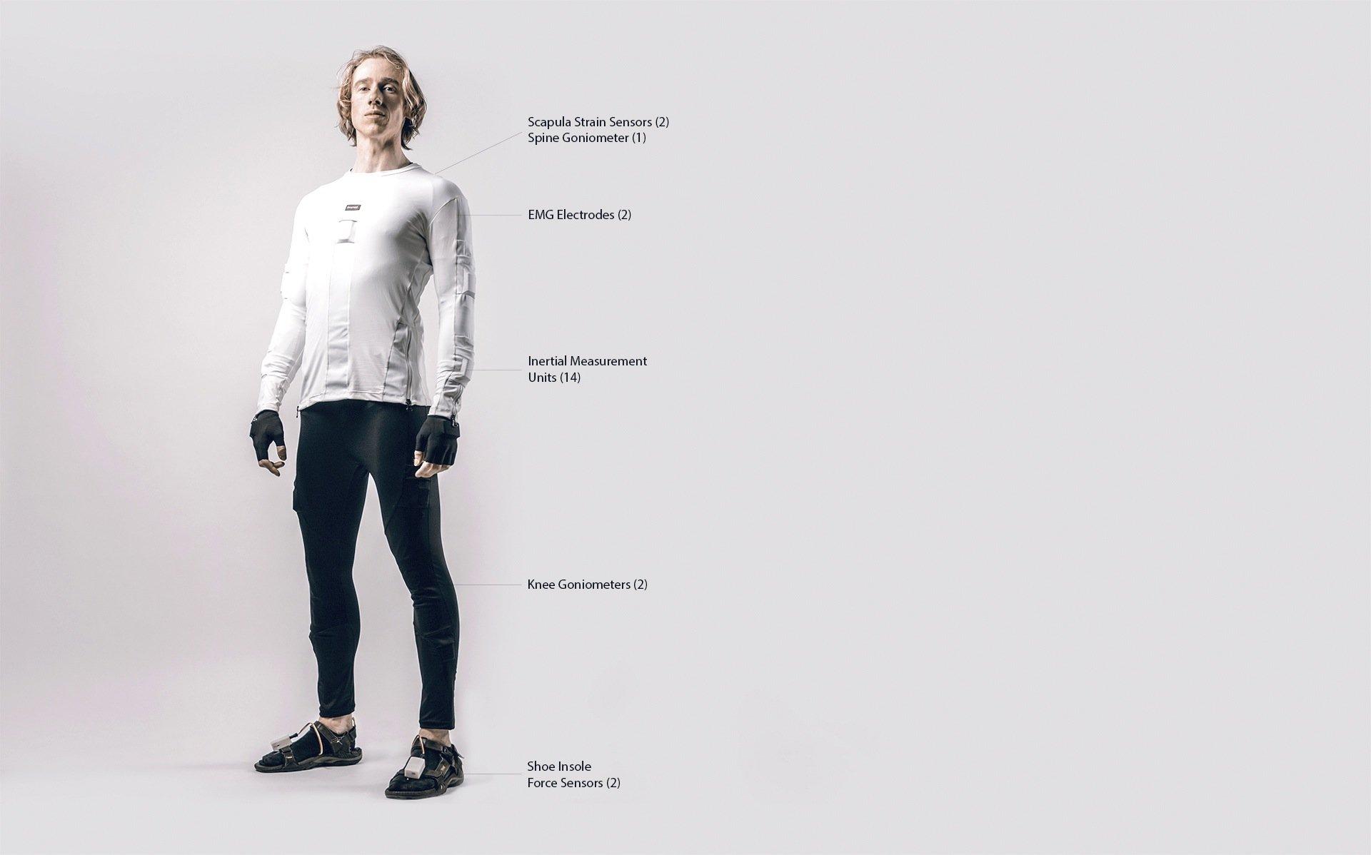 Entwickler Bart Klaassen im neuen Sensoranzug: Wie Funktionsunterwäsche liegt der Anzug mit 41 Sensoren eng am Körper.