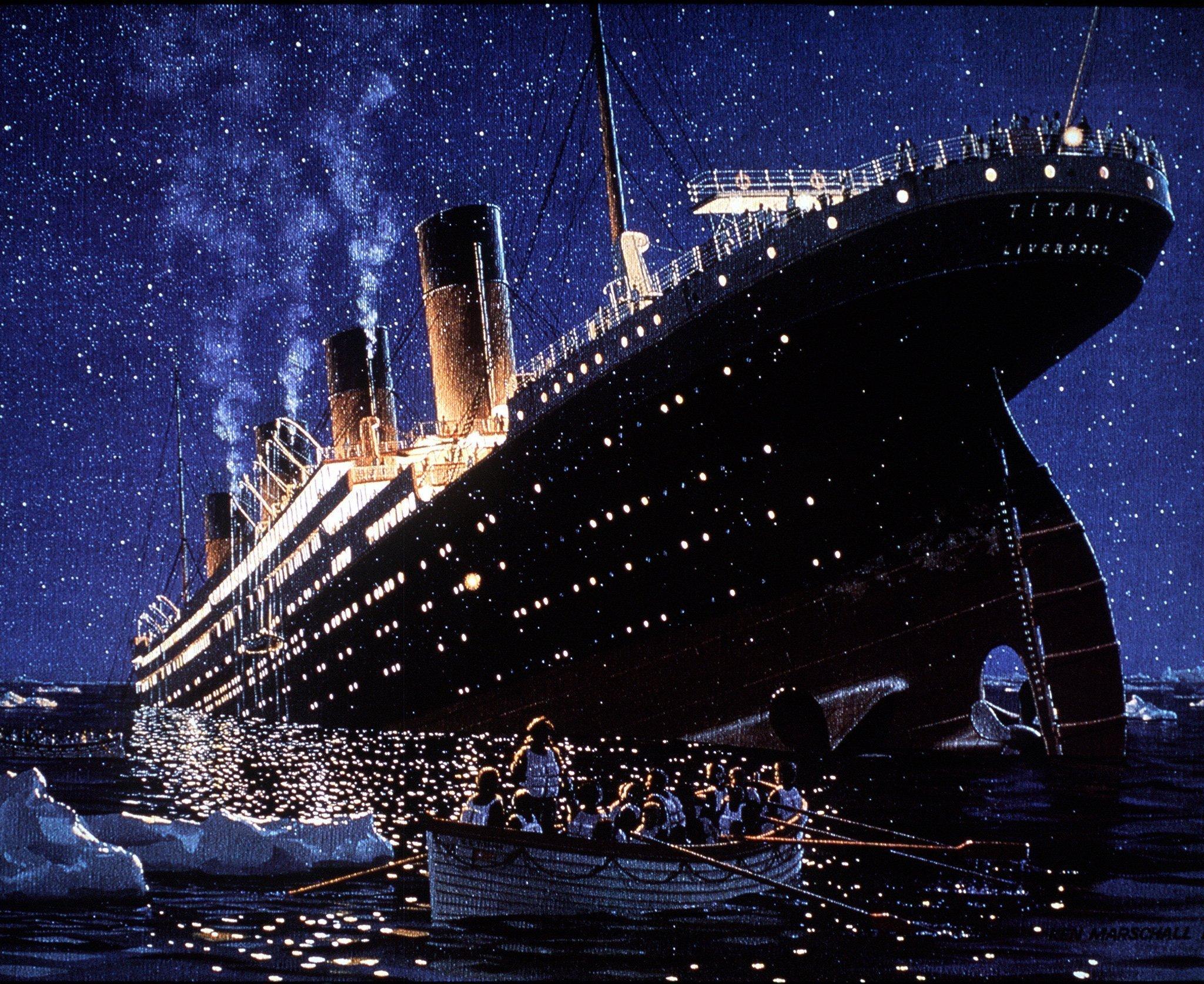 Die zeitgenössische Darstellung zeigt den Untergang des Luxusliners Titanic vor rund hundert Jahren (1912).