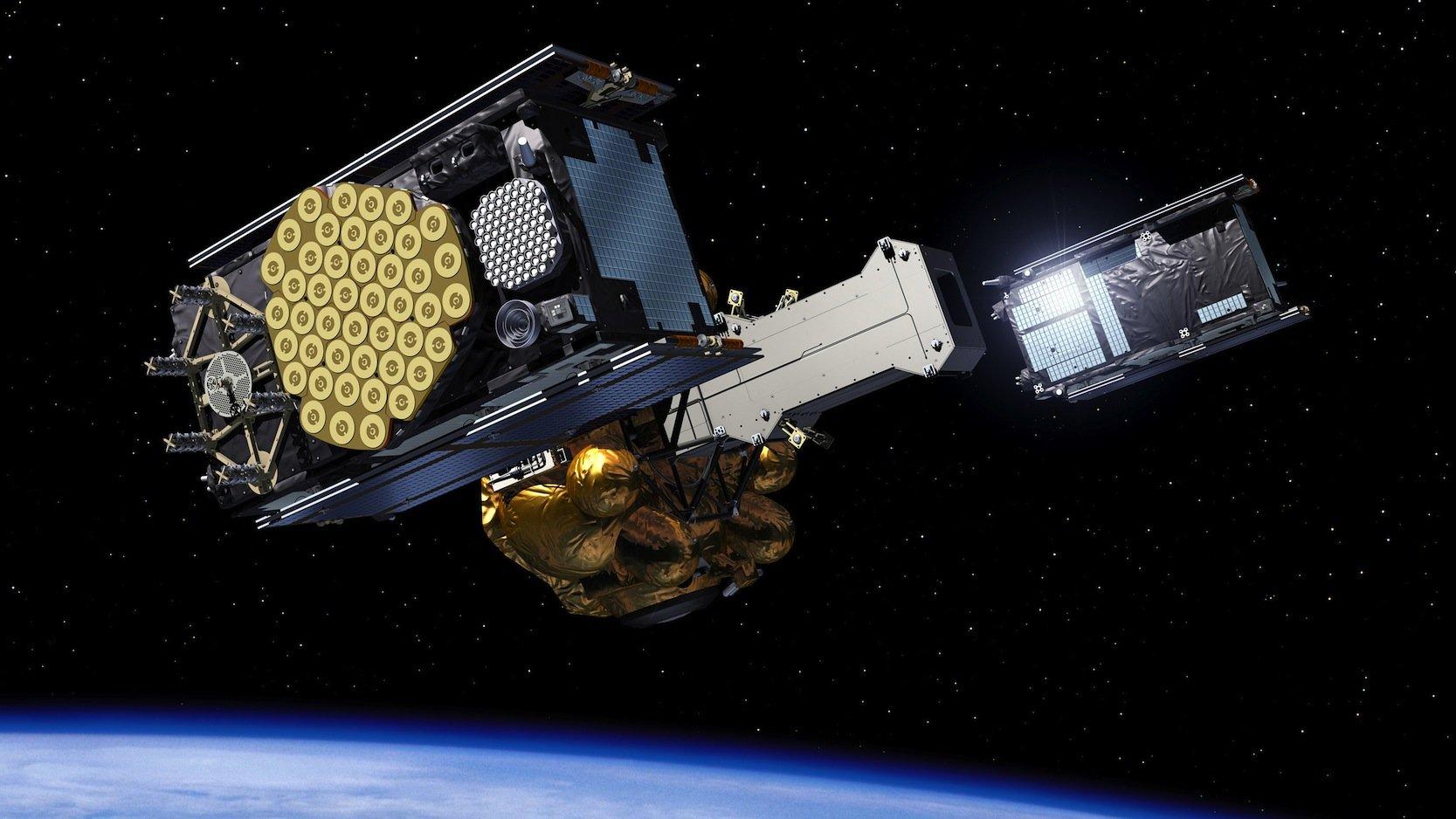 Zwei Galileo-Navigationssatelliten sind fast am Ziel: Etwa vier Stunden nach dem Start erreichen sie ihre Umlaufbahn in 23.222 Kilometern Höhe. Dazu werden die In-Orbit Validation-Satelliten gleichzeitig von der Fregat-Trägereinheit getrennt.Quelle: