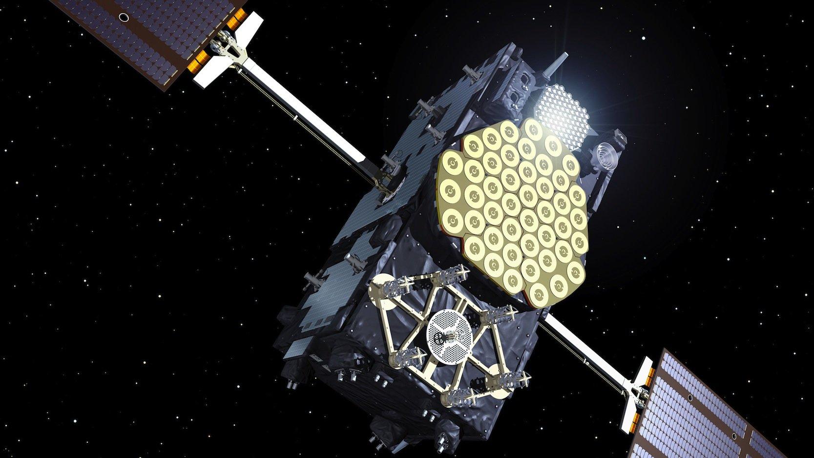 Ein Galileo-Satellit in seiner Umlaufbahn: Seit dem heutigen Tag steht das europäische Satellitensystem Galileo für Navigationsaufgaben zur Verfügung. 18 von geplanten 30 Satelliten kreisen derzeit um die Erde.