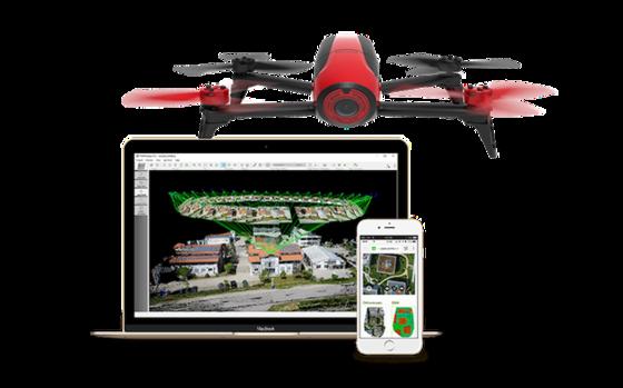 Dieses Package erstellt ein 3D-Modell des eigenen Hauses: Die Drohne Bepop 2 von Parrot und eine Cloud-Software von Pix4D.