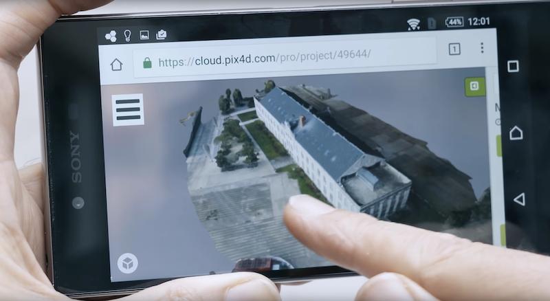 Die Cloud-Software von Pix4D erstellt mit den Fotos ein fotorealistisches 3D-Modell.
