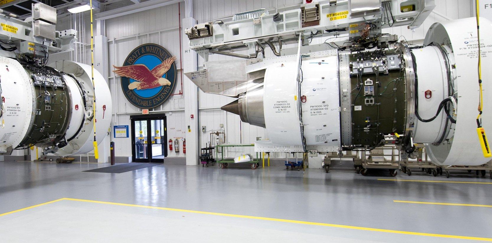 Hier werden die neuen Triebwerke PW1100G vonPratt & Whitney getestet.