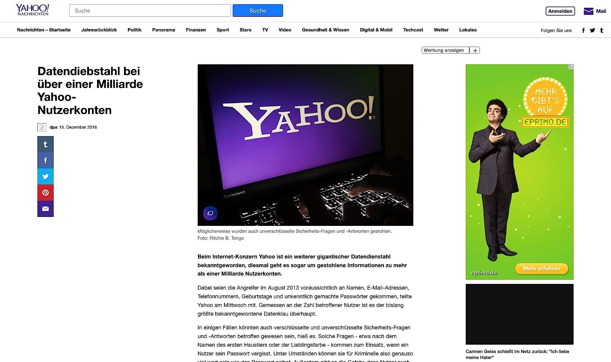 Um die Nachricht über den größten Datendiebstahl der Geschichte im eigenen Haus kommt auch Yahoo auf seinem News-Portal nicht herum.