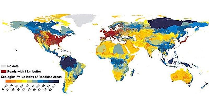 Die Karte zeigt Straßen und Landschaften. Die roten Flächen sind komplett mit Straßen bedeckt bzw. es gibt höchstens einen Abstand von einem Kilometer bis zum nächsten Verkehrsweg.