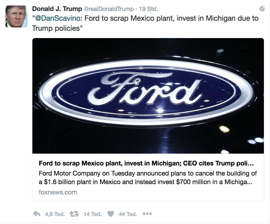 Zufrieden twittert Donald Trump die Entscheidung des Autobauers Ford, mehr in den USA zu investieren.