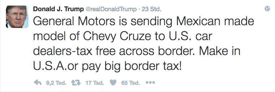 Jetzt greift Donald Trump auch General Motors an: Der Autobauer soll hohe Zölle zahlen, wenn er weiter billige Autos aus Mexiko in die USA einführt.