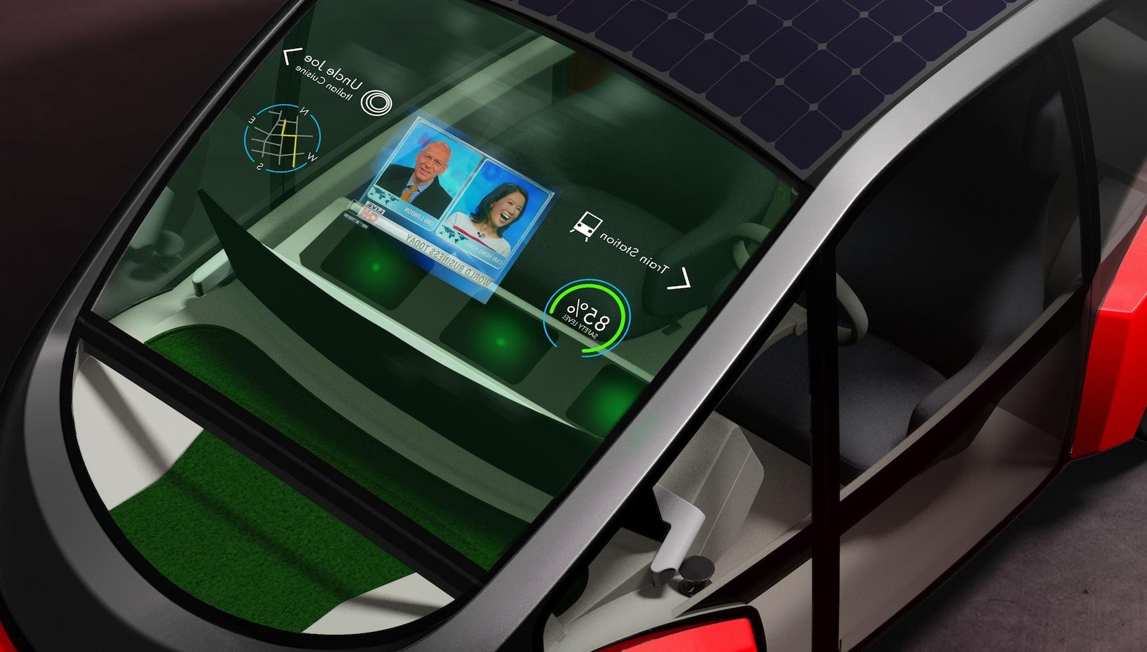 In die Frontscheibe der Studie Oasis sollen Augmented- und Virtual-Reality-Funktionenintegriert. Deutlich sichtbar ist die kleine Rasenfläche.