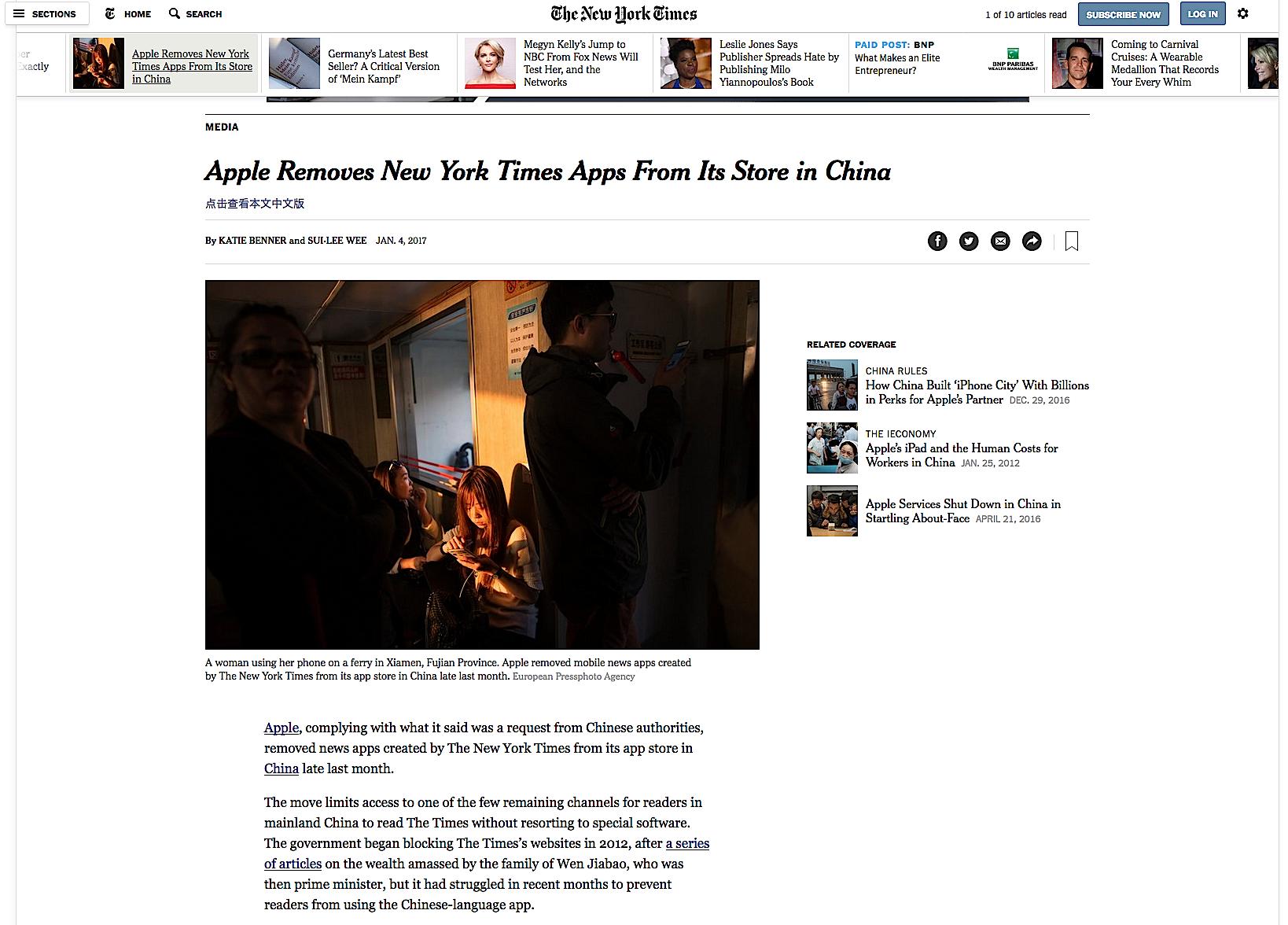 Die New York Times ist seit dem 23. Dezember nicht mehr im chinesischen App Store verfügbar. Erklärungen zum Hintergrund verweigern Apple und die chinesischen Behörden.