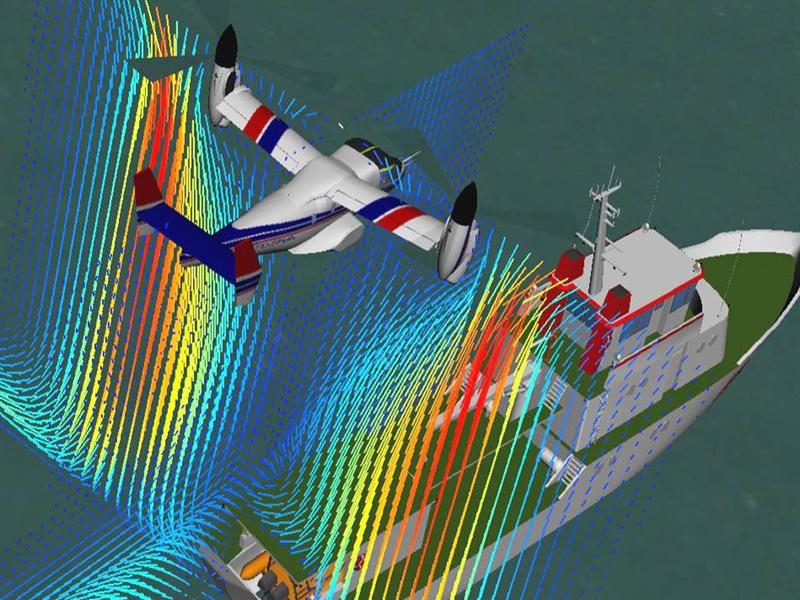 Die neue Simulationstechnik der TU München erlaubt auch das Training schwieriger Flugmanöver wie das Landen auf einem Schiff bei schwierigen Wind- und Wetterverhältnissen.