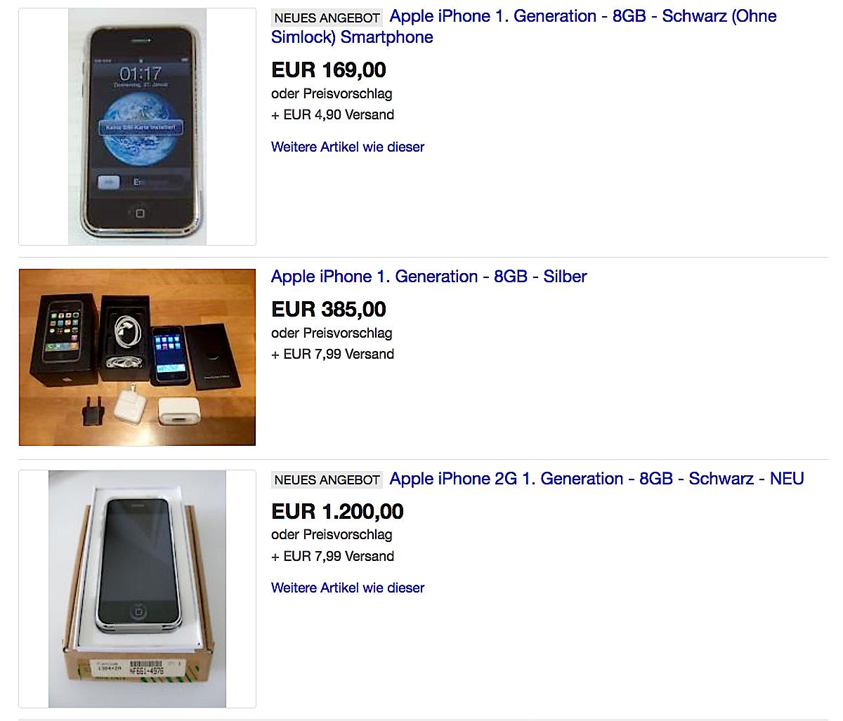 Auf Ebay werden immer noch iPhones der ersten Generation gehandelt. Die Preise sind durchaus ordentlich für Neugeräte.