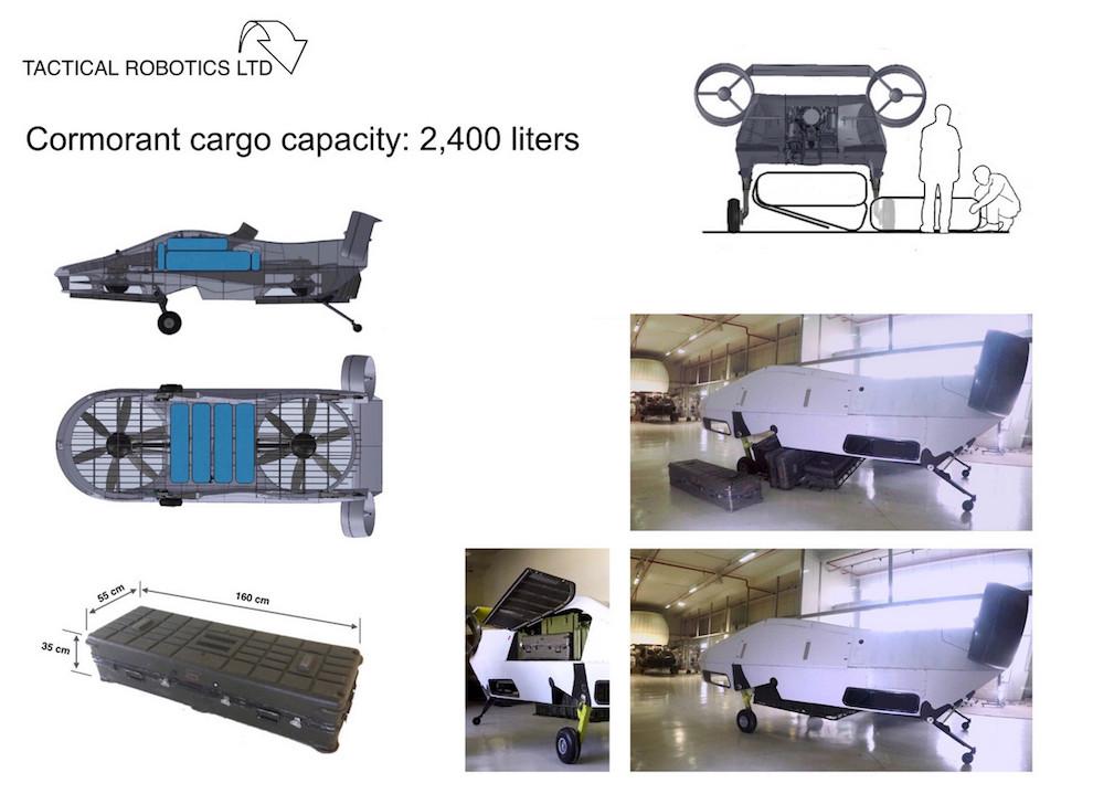Die Cormorant Frachtkapazität beträgt 2.400 Liter.