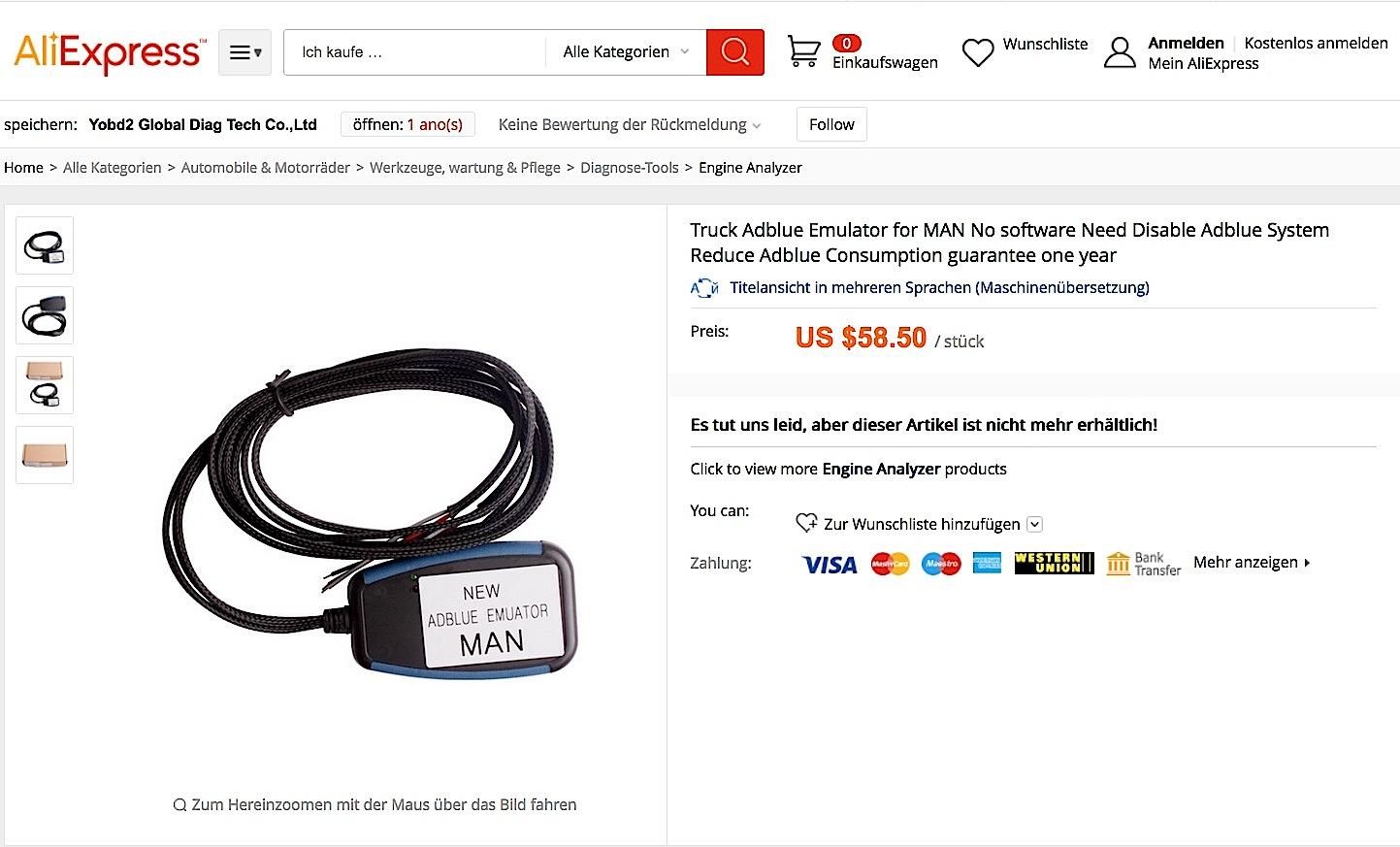 AdBlue-Emulatoren werden im Internet ganz offen angeboten. Auf dieser Webseite bei Ali Express ist der Emulator für MAN-Lkw schon ausverkauft.