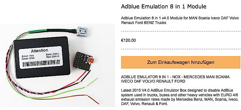 Dieser AdBlue-Emulator aus dem Internet ist zwar mit 120 Euro etwas teurer, dafür passt er zur Bordelektronik aller gängigen Lkw-Marken. Wieso schreitet niemand gegen den Verkauf dieser illegalen Geräte ein?