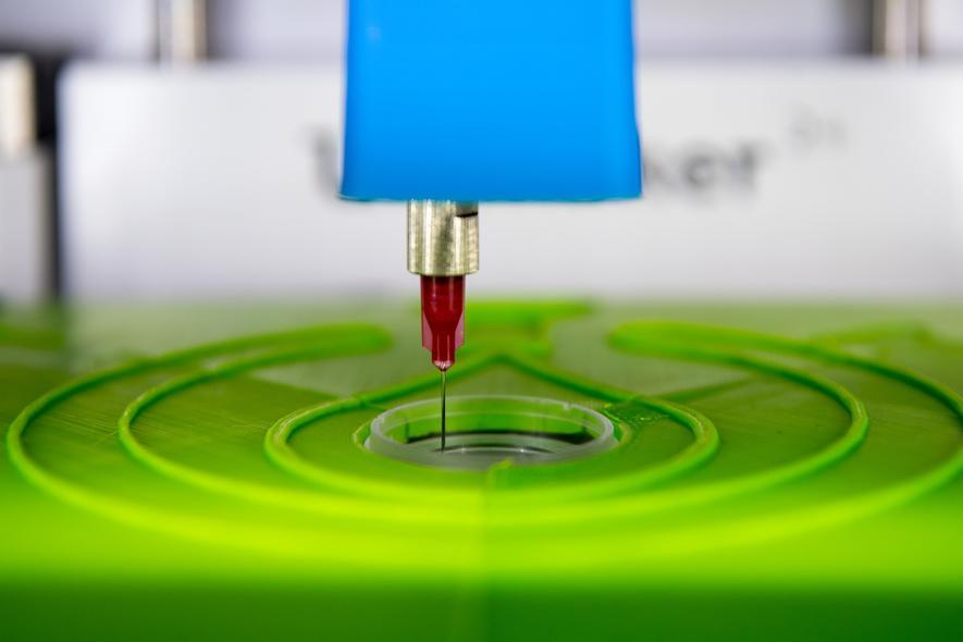 Der biotINK Gewebedrucker aus München druckt mit einer Kanüle Gewebe in eine kleine Petrischale.
